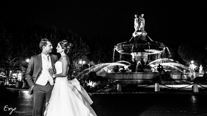 Jeunes mariés sur aix en provence avec la rotonde