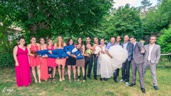 Exemple de Photographie de groupe lors d'un cocktail lors d'un mariage à Aix-en-provence