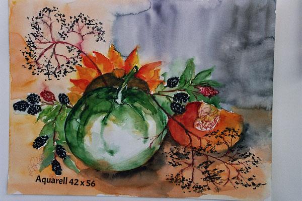 Kürbis im Herbst, Aquarell mit Rahmen