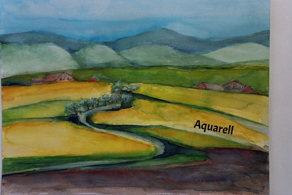 Landschaft mit Rapsfled_Aquarell