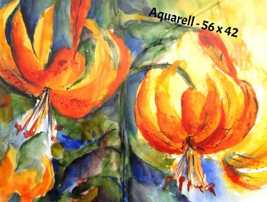 Lilien, Aquarell im Rahmen, 40 x 60