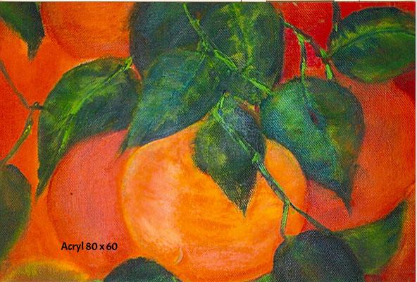 Orangenzweig, Acryl 60 x 80