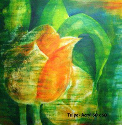 Tulpen gelb, Acryl 60 x 60