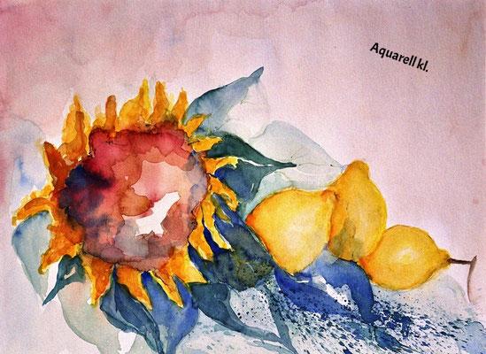 Zitronen mit Sonnenblume_kl_Aquarell