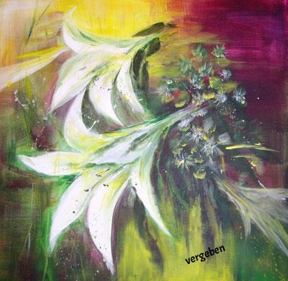 Lilien im Wind, Acryl 60 x 60, vergeben