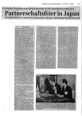 Artikel aus der Rhein-Lahn-Zeitung vom 12. Juni 1992