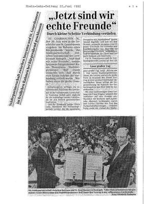 Artikel aus der Rhein-Lahn-Zeitung vom 22. Juni 1992