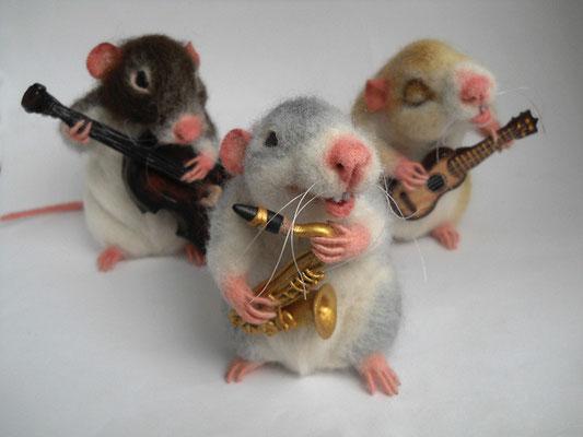 авторская игрушка, крысы,  В джазе только ..., музыканты