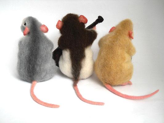 авторская игрушка крыски, трио музыкантов