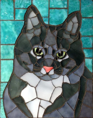 Buster - made with stained glass, 4x5""