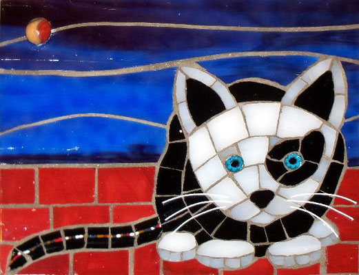 "Spotted Kitten - made with stained glass, vitreous, millefiori, glass fusions, and elastic line 4x5"" - sold"
