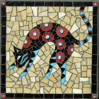 "Pounce - made with stained glass, vitreous and millefiori, 8x8"" - sold"
