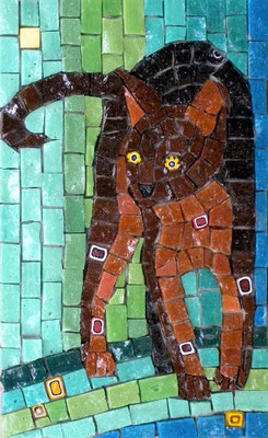 "Brown Kitty - made with Italian smalti and millefiori, 5x8"" - sold"