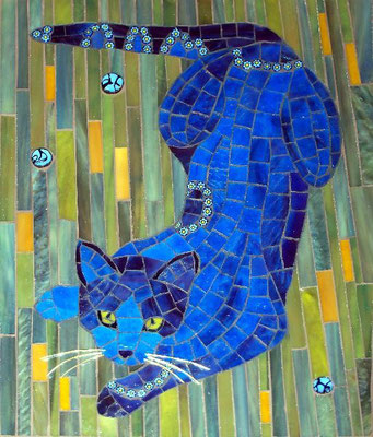 "Blue Cat - made with stained glass, millefiori and wire, 8x10"" - sold"