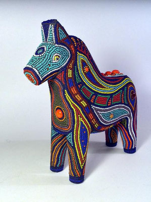 "Cheval - made with seed beads, millefiori and glass fusions, 7x7x2"" - available, please inquire"