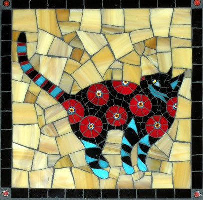 "Dinner? - made with stained glass and millefiori, 8x8"" - sold"