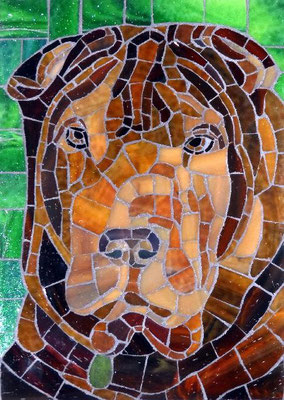 Bubba - made with stained glass, 5x7""