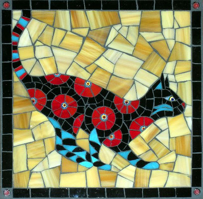 "Curious - made with stained glass and millefiori, 8x8"" - sold"