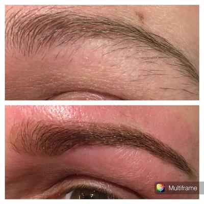 Hennabrows voor en na