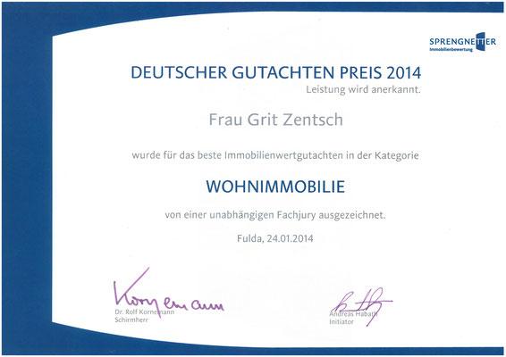 """Deutscher Gutachten Preis 2014 in der Kategorie """"Besondere Wohnimmobilie"""""""