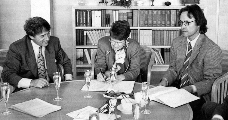 Roland Specker, Rita Süssmuth und Wolfgang Volz bei einem Treffen in Berlin, 18. Oktober 1994 // Foto: Sabine Heimbach