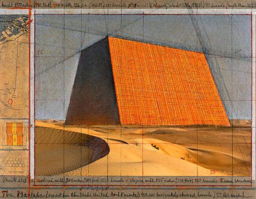 Christo, The Mastaba (Project for Abu Dhabi, United Arab Emirates), Collage 2013, 43,2 x 55,9 cm, Bleistift, Kohle, Pastellkreide, Wachskreide, Emailfarbe, Fotografie, technische Zeichnung und Karte auf Karton // Foto: André Grossmann // © 2013 Christo