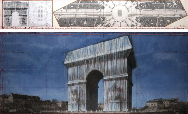 Christo, L'Arc de Triomphe, Wrapped (Project for Paris), Zeichnung 2019 in zwei Teilen, 38 x 244 cm und 106,6 x 244 cm, Bleistift, Kohle, Wachskreide, Emailfarbe, Karte und Klebeband // Foto: André Grossmann // © 2019