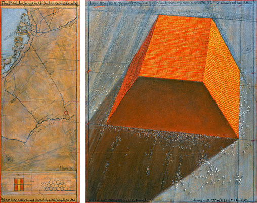 Christo, The Mastaba (Project for Abu Dhabi, United Arab Emirates), Zeichnung 2013 in zwei Teilen, 77,5 x 30,5 cm und 77,5 x 66,7 cm, Bleistift, Kohle, Pastell- und Wachskreide, Emailfarbe, Karte und technische Zeichnung // Foto: André Grossmann // © 2013
