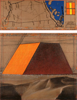 Christo, The Mastaba (Project for Abu Dhabi, United Arab Emirates), Collage 2014 in zwei Teilen, 30,5 x 77,5 cm und 66,7 x 77,5 cm, Bleistift, Kohle, Pastell- und Wachskreide, Emailfarbe, Karte und technische Zeichnung // Foto: André Grossmann // © 2014