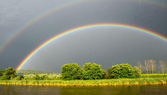 Regenbogen über der Pütte in Laumühlen