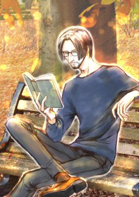 読書の秋(2015/10 J.GARDEN「帰っちゃうの?ポスター」用): 公園で読書。寒がりの彼がこんな格好なので、かなり暖かい日なのだと思います。
