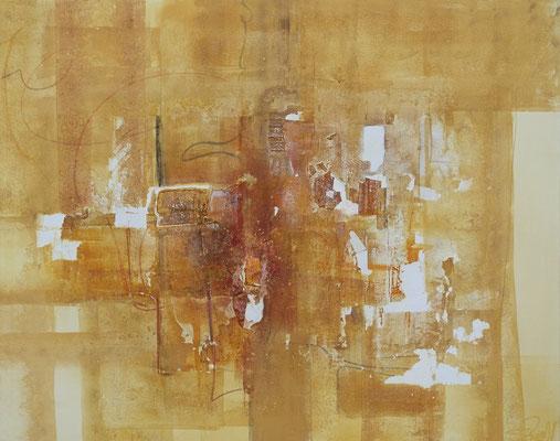 Wertschätzung I 100 x 80 cm I  eingefasst in Schattenfugenrahmen aus Holz goldfarben