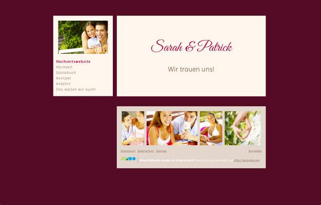Hochzeitswebsite von Sarah & Patrick
