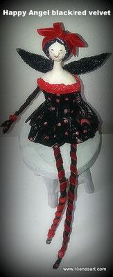 Happy Angel zwart met rode velvet haarband en panty