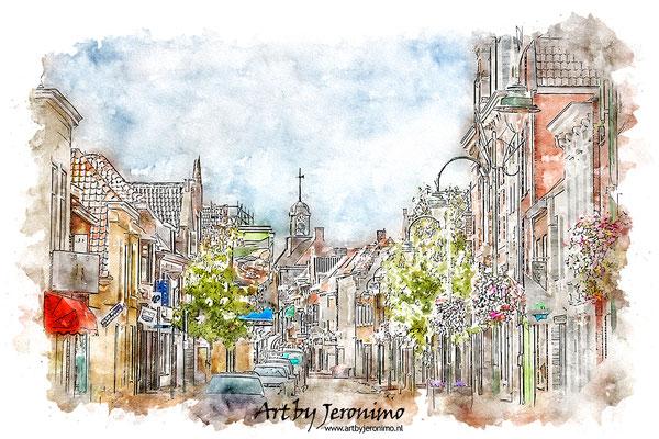 Aquarel van de Grote Kerkstraat in Steenbergen (Brabant)