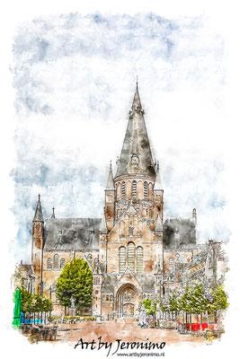 Aquarel van de Sint Gummaruskerk in Steenbergen (Brabant)