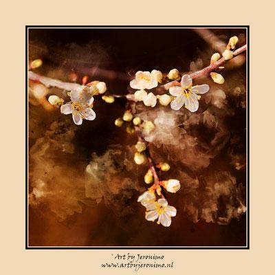 Digitaal kunstwerk van bloesem in de lente