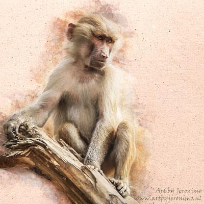 Digitaal kunstwerk van een aap, zittend op een boomstam