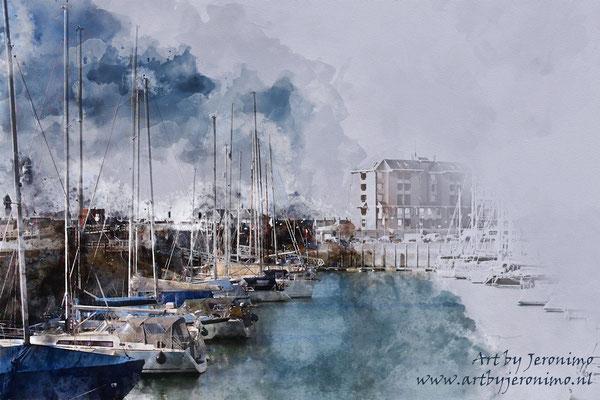 Digitaal kunstwerk van de haven in Vlissingen (Zeeland)