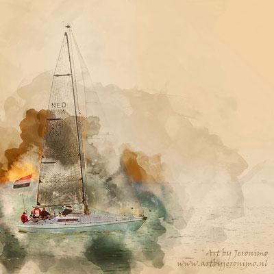 Digitaal kunstwerk van een zeilschip op de Noordzee voor de kust van Vlissingen (Zeeland)