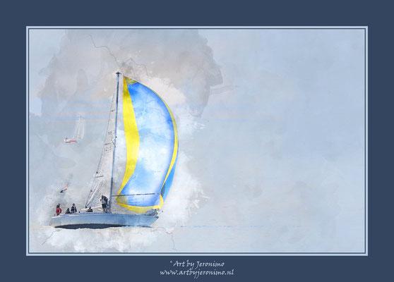 Digitaal kunstwerk van een zeilboot op de Noordzee voor de kust van Vlissingen (Zeeland)