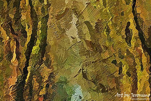 Close-up van het kunstwerk waarbij u de, door mij gebruikte, technieken en structuur kunt bekijken.