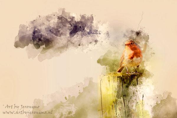 Digitaal kunstwerk van een roodborstje zittend op een boomstam