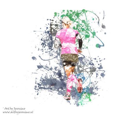 """Digitaal kunstwerk van een hardloopster met de titel """"Colorrun"""""""