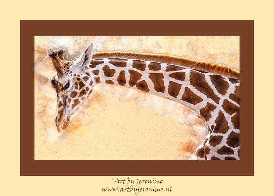 Digitaal kunstwerk van een giraffe (ook leverbaar zonder passe-partout)