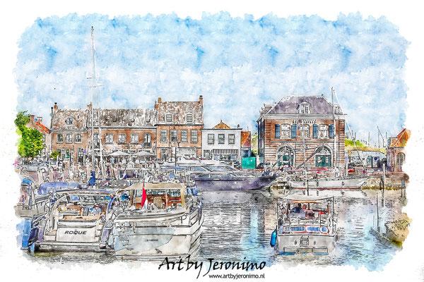 Aquarel van de gezellige jachthaven van Willemstad (Brabant)