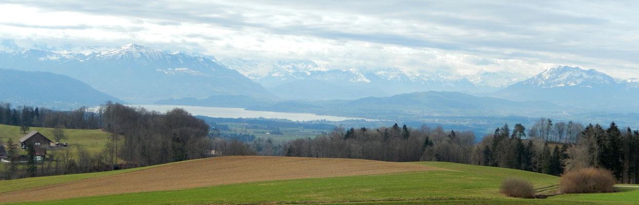 Sicht gen Süden auf Zugersee, Rigi, Pilatus  & die Zentralschweizer Alpen