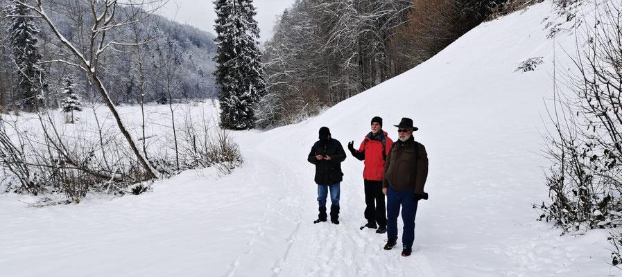 Drei Männer im Schnee - Patsch, Chlapf, Zingg