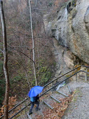 Stufengerecht am Mega-Mini-Rheinfall vorbei.