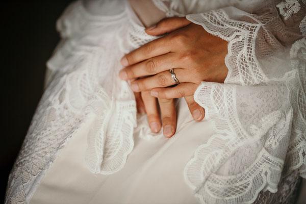 Braut Detailfotografie Hochzeit Boho Vintage